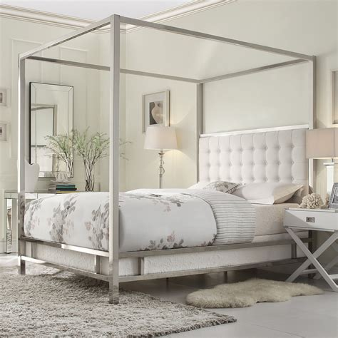 metal poster bed inspire q solivita canopy button tufted metal poster bed