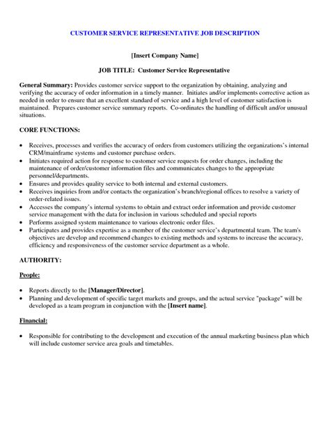Customer Service Duties For Resume by Customer Service Duties For Resume For Service Representative Description Insert Pany