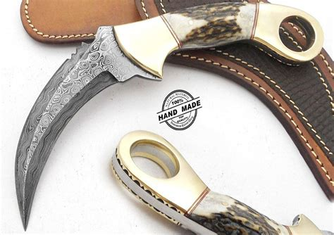 Damascus Karambit Hunting Knife Custom Handmade Damascus Steel