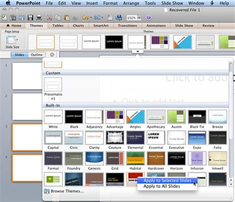 applying themes in powerpoint 2010 applying themes in powerpoint word and excel 2011 for