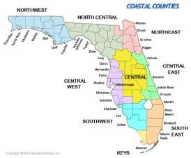 map of florida with cities listed coastal counties in florida maps of florida and list of