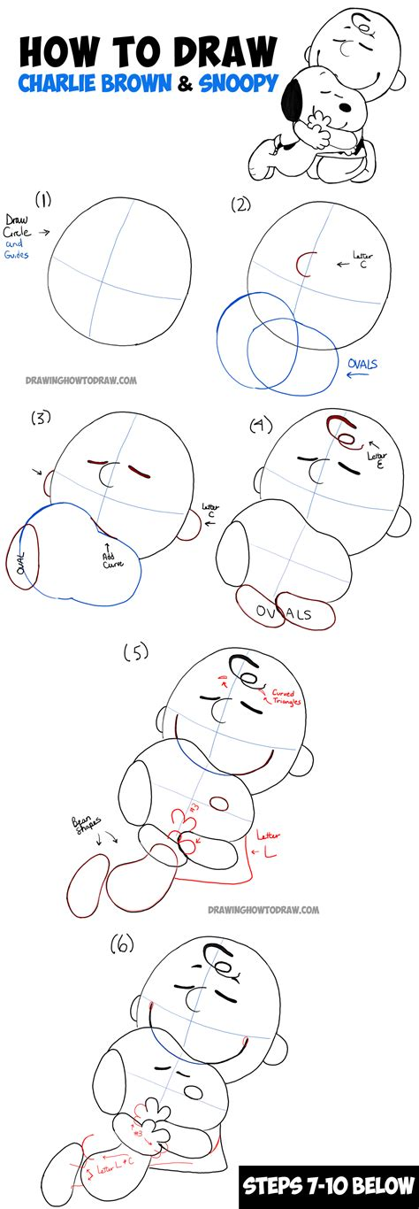 how to draw doodle characters step by step how to draw snoopy and brown from the peanuts