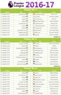 Kalender 2018 Inggris Kalender Jadwal Liga Inggris 2016 17 Pdf Idezia
