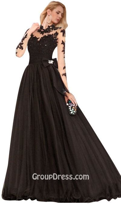 20577 Gray Pink Bow Sale Sleeved Top embroidered bodice black illusion neck gown