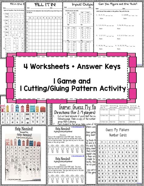pattern rule answers multiplication and division function table worksheets