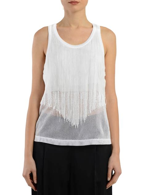 Fringed Tank Top fringed mesh tank top by maison margiela tops tank