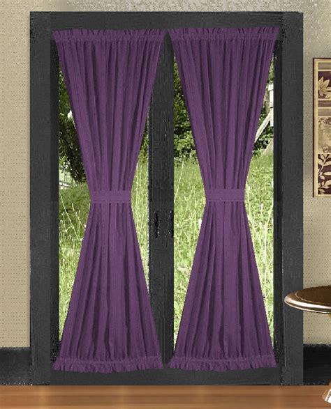 Solid purple colored french door curtain available in many lengths
