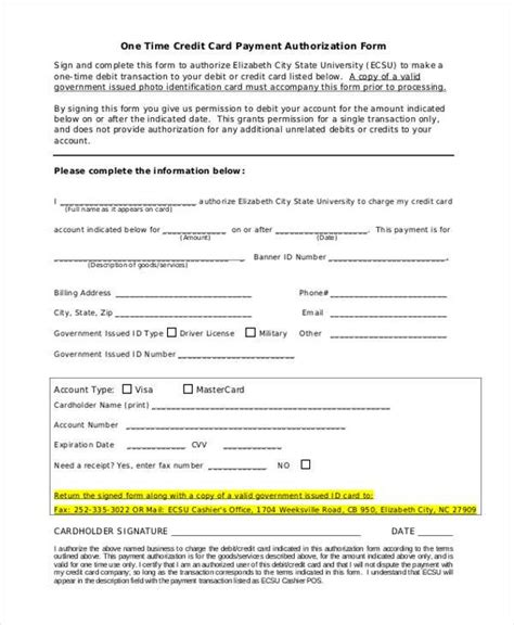 Canadian Credit Card Authorization Form Template Blank Authorization Forms