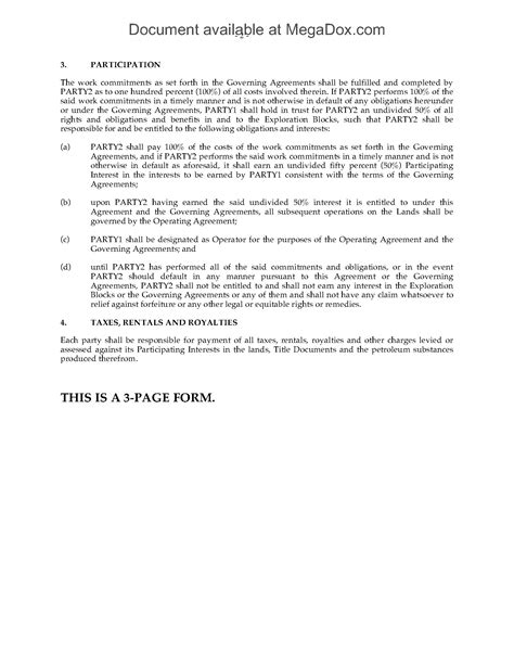 participation agreement template participation agreement for and gas exploration