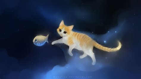 wallpaper cat illustration apofiss deviantart wallpaper