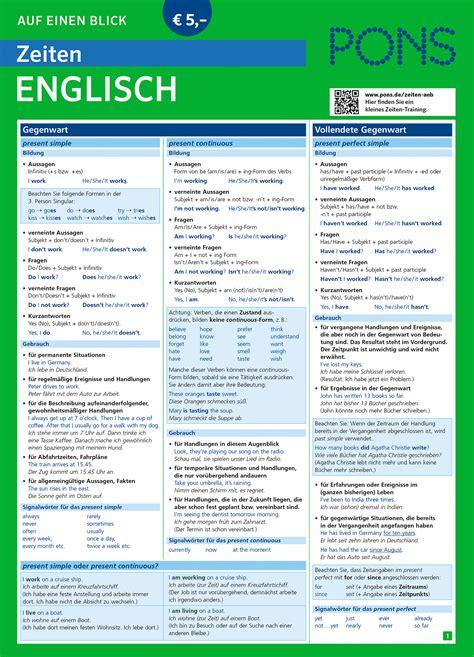 tabelle auf englisch pons zeiten auf einen blick englisch pons zusammenfassung