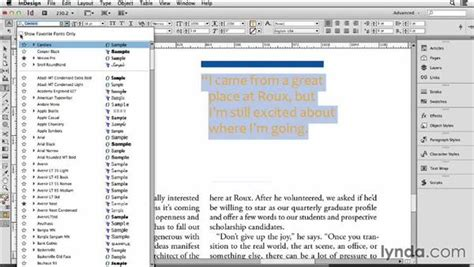 layout menu indesign 143 finding the right font with indesign s font menus