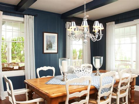blue country style dining room hgtv