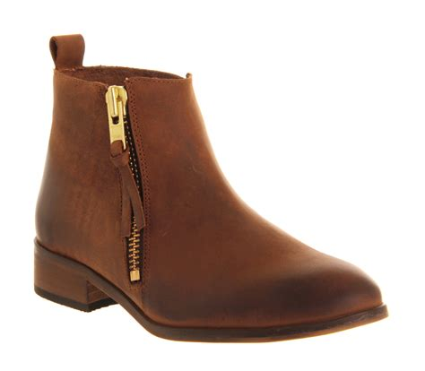 office mambo brown leather ankle boots