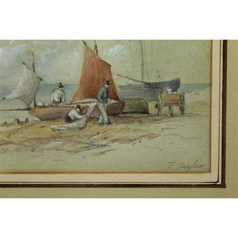 H Mes 1889 paire d aquarelles bateaux et p 234 cheurs sign 233 e