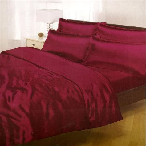 Burgundy Bed Sets Burgundy Satin Complete Bed Duvet Quilt Cover Set Bedding Fitted Sheet Ebay