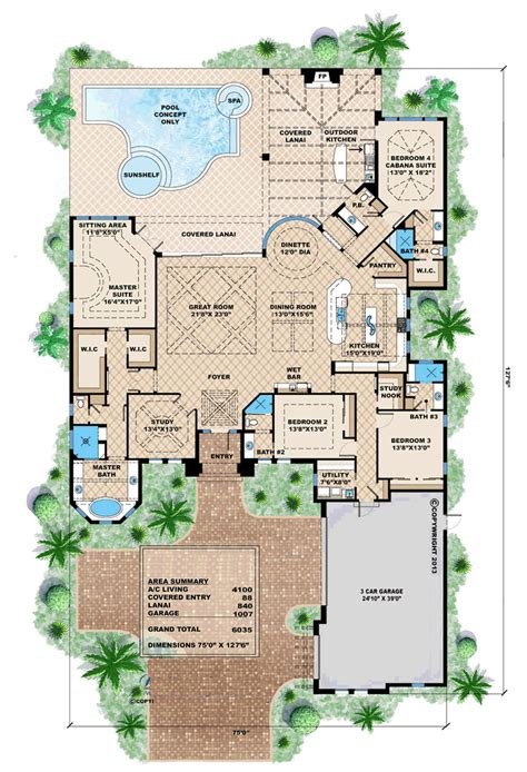 mediterranean house plans with pool house plan 75909 at familyhomeplans com