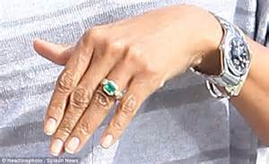 zoe saldana shows emerald engagement ring from husband