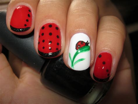 cute easy lady bug nail art youtube today nail art ladybug and white nail design
