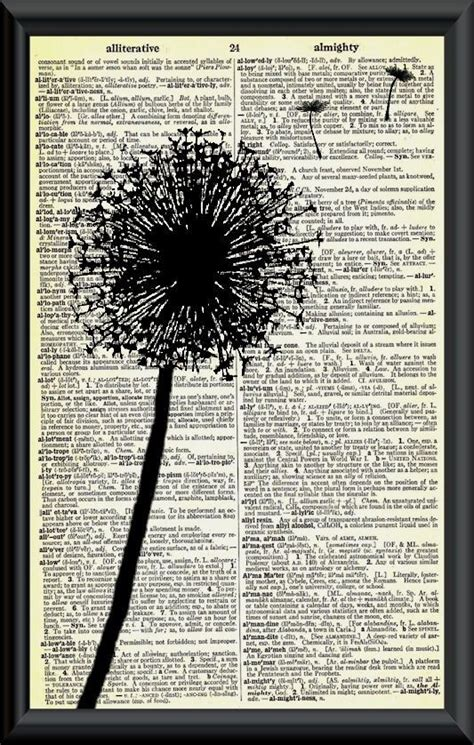 Novel A Dandelion Wish make a wish dandelion vintage dictionary page clip flower and mixed media