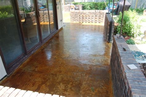 concrete overlay and acid stained patio mediterranean