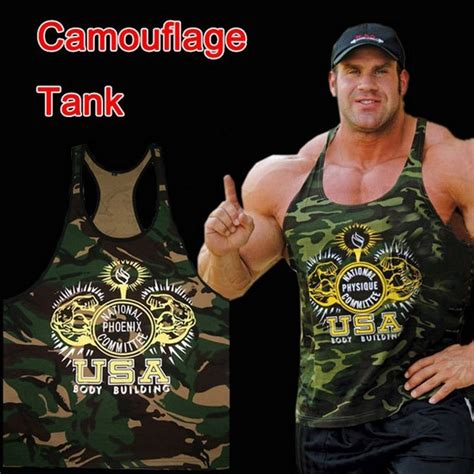 Baju Fitness Golds Big Navy style camouflage tank stringer fitness movement undershirt 100 cotton bodybuilding