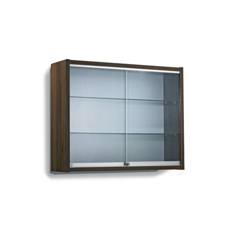 Contemporary Display Cabinet 2 Glass Shelves Wall Mounted Wall Display Cabinets With Glass Doors