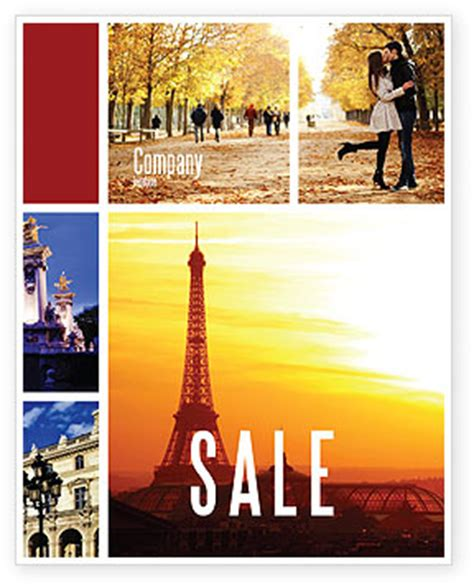 paris in collage sale poster template in microsoft word