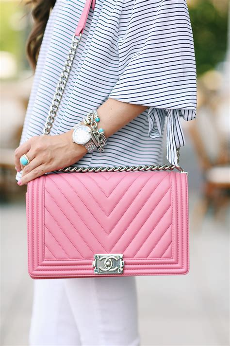 Channel Pink pink chanel boy bag the closet chanel boy