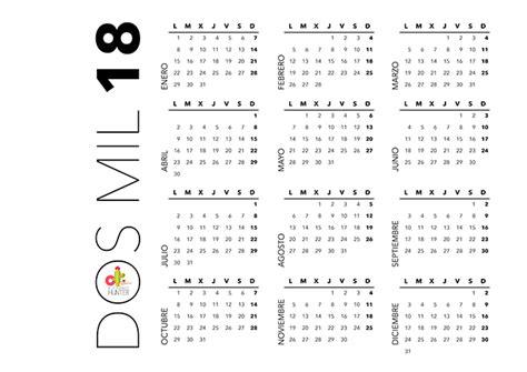 Calendario Anual 2018 Calendario Anual De 2018 Descargable Elegance