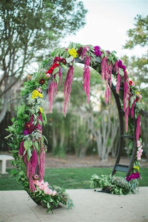 Wedding Arch With Hanging Flowers by 33 Boho Wedding Arches Altars And Backdrops To Rock