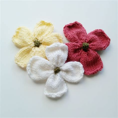 flower design knitting pattern knitted dogwood blossoms purl avenue