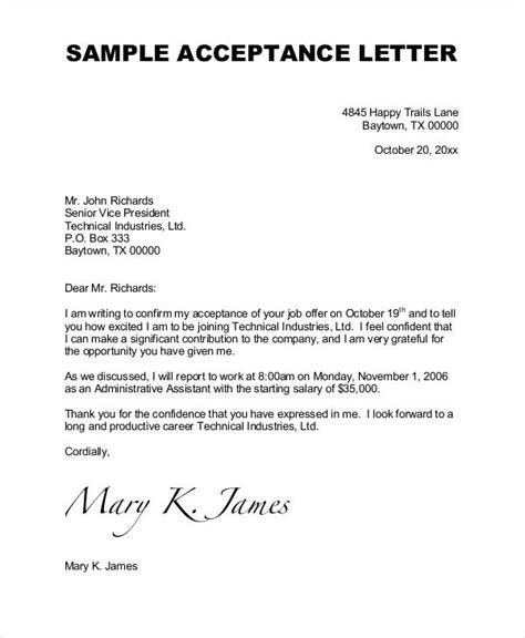 job acceptance letter word documents