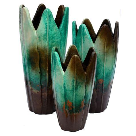 Turquoise Vase Set Turquoise Hojas Vases Set Of 3