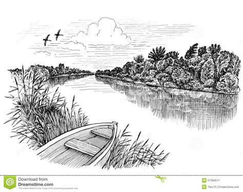 boat in river drawing river boat stock illustration illustration of paper