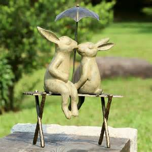 bunny lovers on bench garden statue eclectic garden