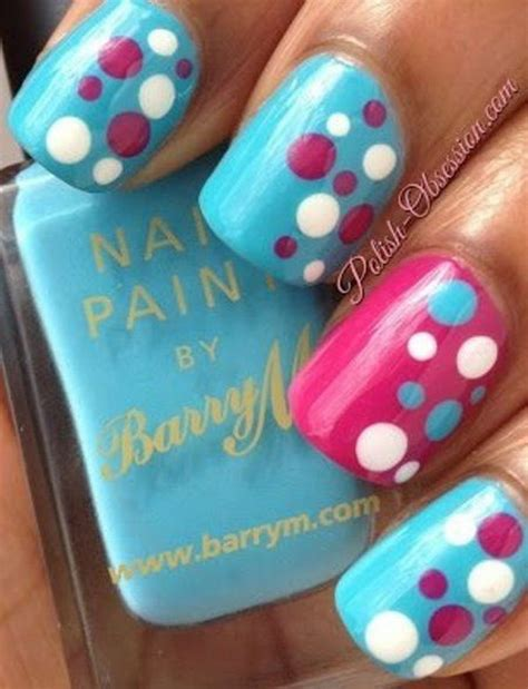 easy nail art pink and blue 50 stylish polka dots nail art designs noted list