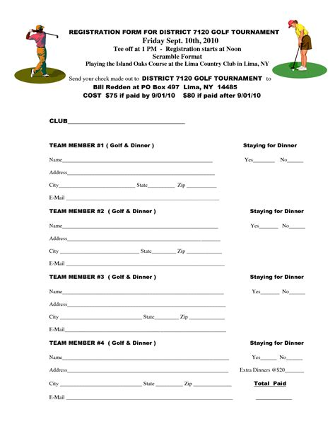 golf registration form template best photos of outing sign up sheet exle golf