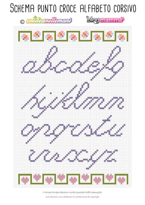 punto croce lettere ricamare lettere schema alfabeto a punto croce minuscolo
