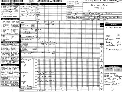 anesthesia record form template ob anesthesia survival guide stony brook