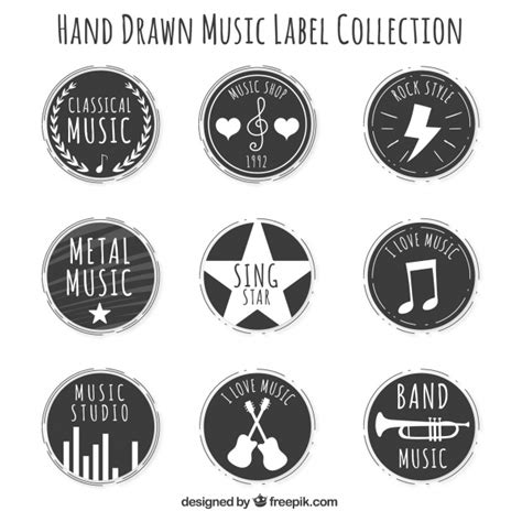 printable music stickers round vintage music stickers set vector free download