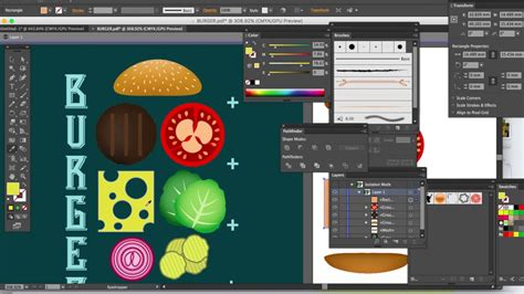 vector tutorial beginner burger recipe poster adobe illustrator tutorial for