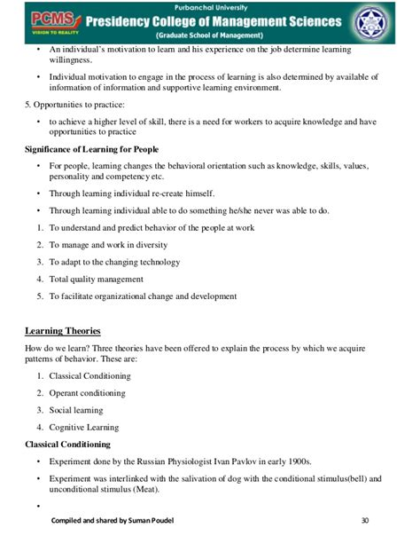 Organizational Behaviour Mba Notes by Mba 1s Sem Organisational Behaviour Notes