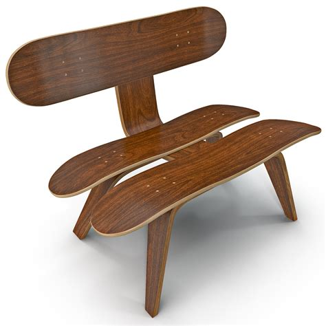 skateboard chairs 3d model of recycled skateboard chair design