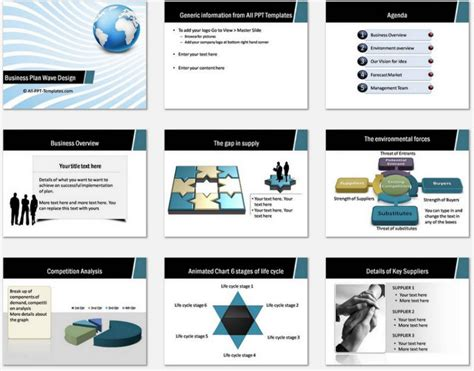 Template Powerpoint Business Plan Powerpoint Template powerpoint business plan wave design