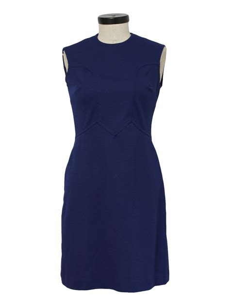 Knit Princess Dress Navy 60 s care label dress 60s care label womens navy blue polyester sleeveless mid length knit