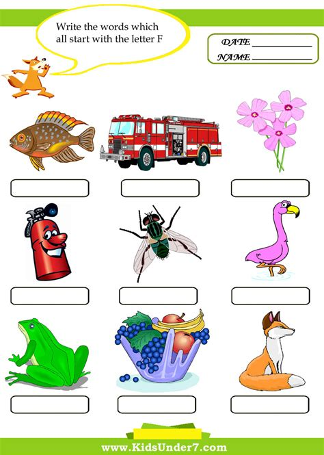 4 Letter Words With F free things begin with f coloring pages