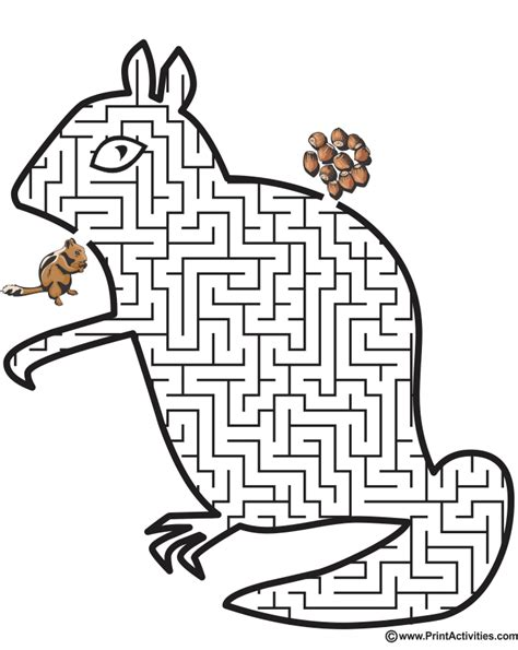 printable dog maze chipmunk shaped maze labirintai gyvūnai pinterest