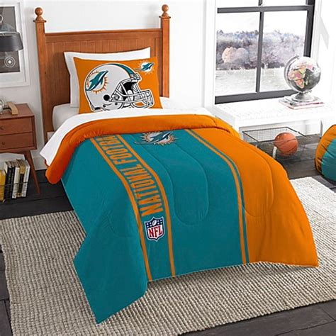 miami dolphins nfl twin chenille embroidered comforter set with 2 shams 64 x 86 nfl miami dolphins embroidered comforter set bed bath beyond