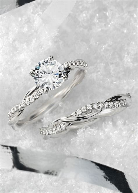Wedding Bands For Twisted Engagement Rings by Twist Engagement Ring In Platinum 1 10 Ct